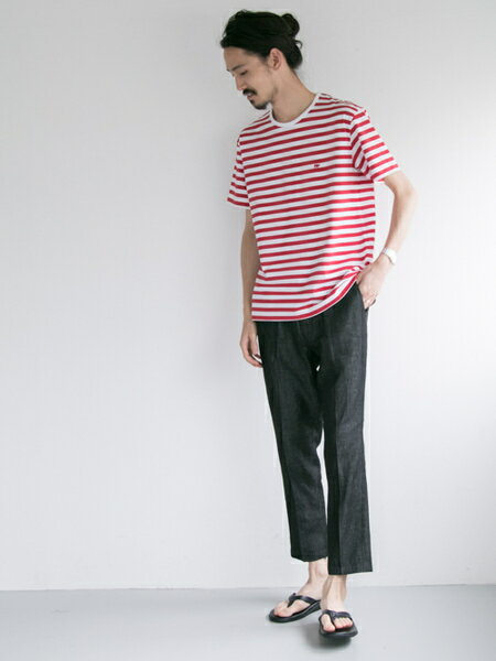 URBAN RESEARCHさんのTシャツ「Scye×URBAN RESEARCH 別注BORDER LOGO S/S T-SHIRTS」を使ったコーディネートを紹介します。|ファッション通販楽天ブランドアベニュー(旧スタイライフ Stylife)21414