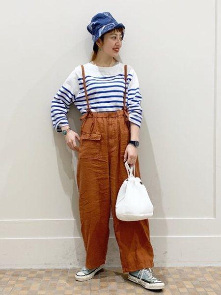 BEAMS WOMENのBEAMS BOY / ナバルボーダー ビッグ ボートネック カットソーを使ったコーディネートを紹介します。 Rakuten Fashion(楽天ファッション/旧楽天ブランドアベニュー)32099