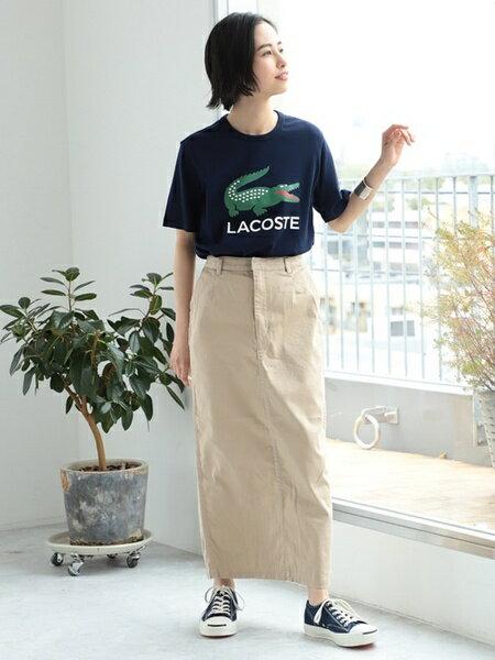 BEAMS WOMENさんのTシャツ「LACOSTE / 別注 ロゴ プリント Tシャツ ラコステ ビームス ボーイ BEAMS BOY レディース 半袖」を使ったコーディネートを紹介します。|ファッション通販楽天ブランドアベニュー(旧スタイライフ Stylife)33795