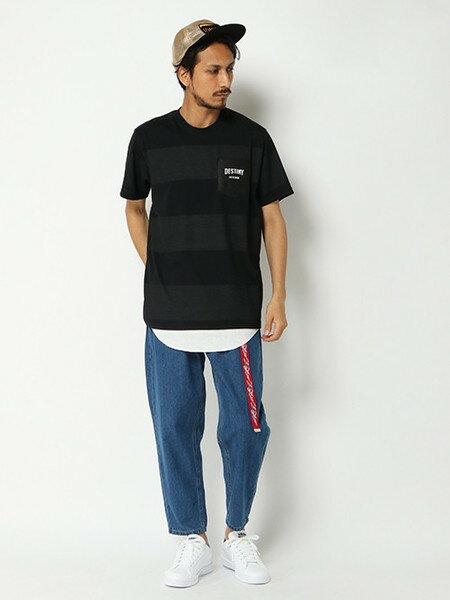 VENCE EXCHANGEさんのTシャツ「プリントボーダーフェルト切替Tシャツ」を使ったコーディネートを紹介します。 ファッション通販楽天ブランドアベニュー(旧スタイライフ Stylife)24455