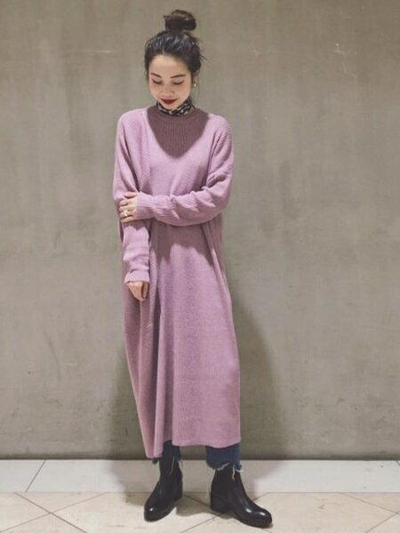 ADAM ET ROPE'のリブアシンメトリーワンピースを使ったコーディネートを紹介します。|Rakuten Fashion(楽天ファッション/旧楽天ブランドアベニュー)28777
