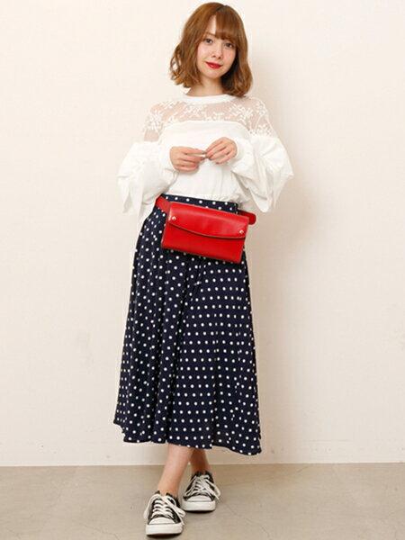 Ray Cassinさんのフレアスカート「ギンガム・ドットスカート」を使ったコーディネートを紹介します。|ファッション通販楽天ブランドアベニュー(旧スタイライフ Stylife)20737