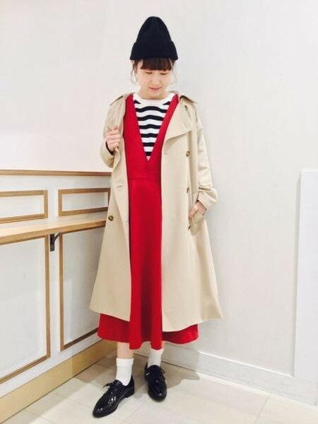 GLOBAL WORKさんのジャンパースカート「(W)タックジャンスカ」を使ったコーディネートを紹介します。|ファッション通販楽天ブランドアベニュー(旧スタイライフ Stylife)18414