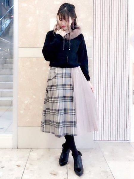 MISCH MASCHさんのフレアスカート「チェック柄部分プリーツスカート」を使ったコーディネートを紹介します。|ファッション通販楽天ブランドアベニュー(旧スタイライフ Stylife)28807