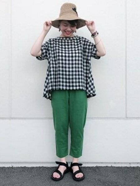 studio CLIPさんの半袖シャツ「ギンガムバックフレアBL」を使ったコーディネートを紹介します。|ファッション通販楽天ブランドアベニュー(旧スタイライフ Stylife)24673