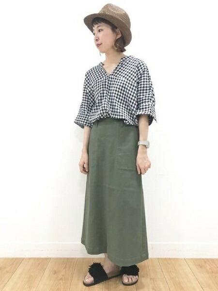 studio CLIPさんのデニムスカート「カツラギベイカーSK」を使ったコーディネートを紹介します。|ファッション通販楽天ブランドアベニュー(旧スタイライフ Stylife)24675