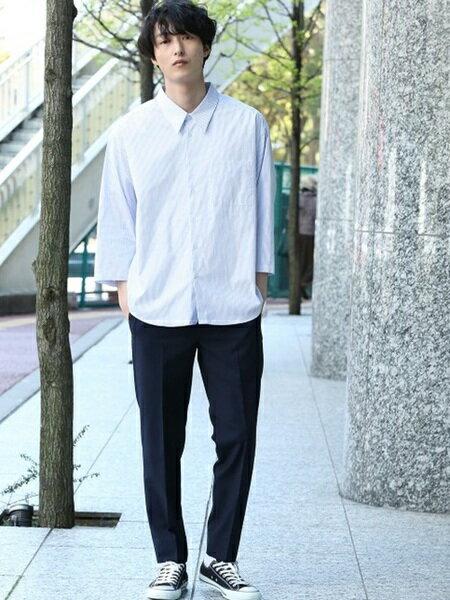 JUNRedさんのシャツ/ブラウスその他「ルーズネックストライプシャツ」を使ったコーディネートを紹介します。 ファッション通販楽天ブランドアベニュー(旧スタイライフ Stylife)20399
