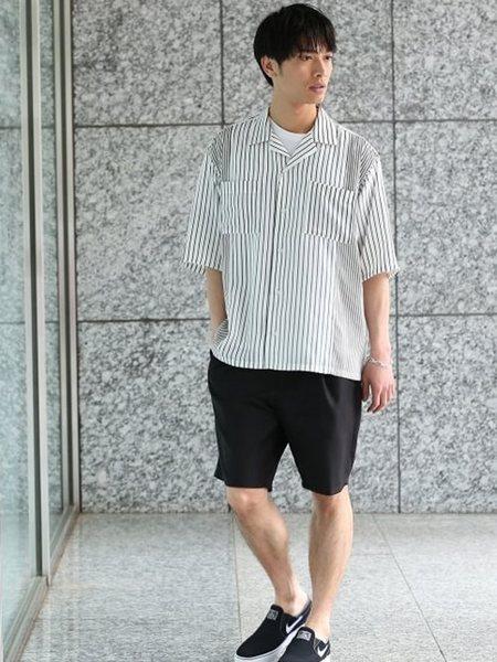 JUNRedさんのシャツ/ブラウスその他「ストライプ切り替え開襟シャツ」を使ったコーディネートを紹介します。|ファッション通販楽天ブランドアベニュー(旧スタイライフ Stylife)21640