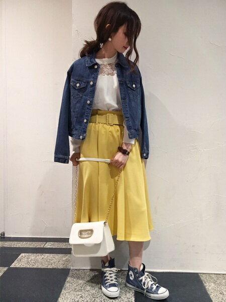 INGNIさんのフレアスカート「S・共ベルト付TRミディ/SK」を使ったコーディネートを紹介します。|ファッション通販楽天ブランドアベニュー(旧スタイライフ Stylife)17210