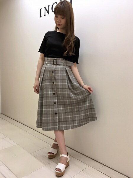 INGNIさんのフレアスカート「S・前釦チェック柄ミディ/SK」を使ったコーディネートを紹介します。|ファッション通販楽天ブランドアベニュー(旧スタイライフ Stylife)20763