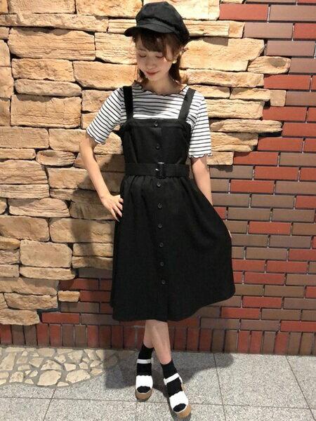 INGNIさんのジャンパースカート「S・TR前釦フレア/ジャンスカ」を使ったコーディネートを紹介します。|ファッション通販楽天ブランドアベニュー(旧スタイライフ Stylife)20806