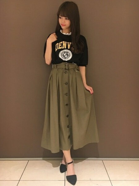 INGNIさんのフレアスカート「S・L84前釦チノマキシフレアSK」を使ったコーディネートを紹介します。|ファッション通販楽天ブランドアベニュー(旧スタイライフ Stylife)21386