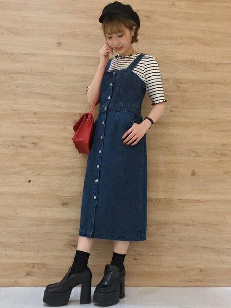 INGNIさんのジャンパースカート「C・前釦ナロージャンスカ」を使ったコーディネートを紹介します。|ファッション通販楽天ブランドアベニュー(旧スタイライフ Stylife)22015