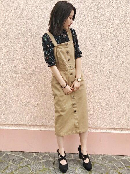 INGNIさんのジャンパースカート「C・前釦ナロージャンスカ」を使ったコーディネートを紹介します。|ファッション通販楽天ブランドアベニュー(旧スタイライフ Stylife)22028