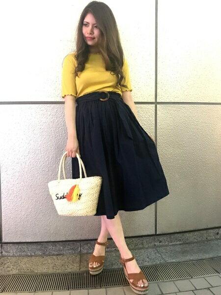 INGNIさんのかごバッグ「ロゴ刺繍かごバッグ」を使ったコーディネートを紹介します。|ファッション通販楽天ブランドアベニュー(旧スタイライフ Stylife)22056