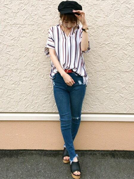 INGNIさんの半袖シャツ「S・裾タックマルチSTスキッパー半袖/SH」を使ったコーディネートを紹介します。|ファッション通販楽天ブランドアベニュー(旧スタイライフ Stylife)23336