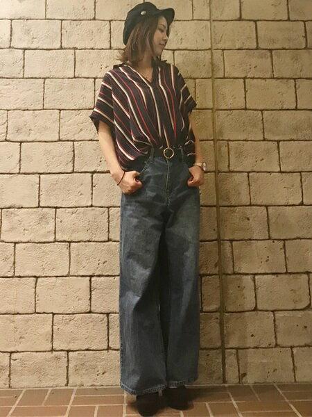 INGNIさんの半袖シャツ「S・裾タックマルチSTスキッパー半袖/SH」を使ったコーディネートを紹介します。|ファッション通販楽天ブランドアベニュー(旧スタイライフ Stylife)23344