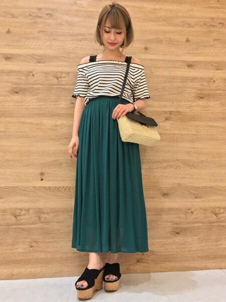 INGNIさんのロングスカート「S・シフォン楊柳ロング/SK」を使ったコーディネートを紹介します。|ファッション通販楽天ブランドアベニュー(旧スタイライフ Stylife)23515