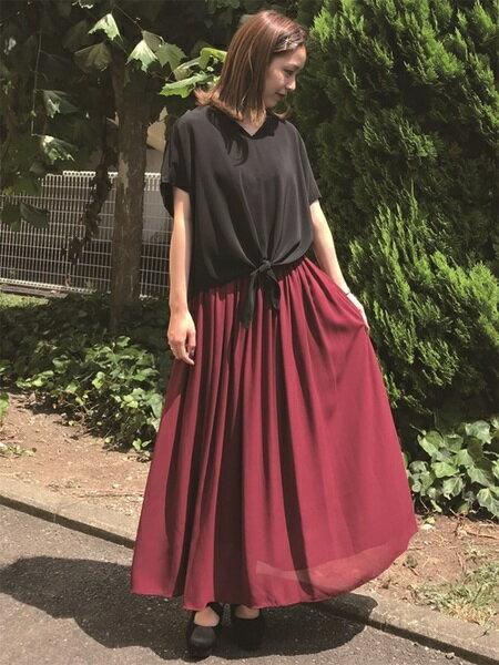 INGNIさんのロングスカート「シフォン楊柳ロング/スカート」を使ったコーディネートを紹介します。 ファッション通販楽天ブランドアベニュー(旧スタイライフ Stylife)25044