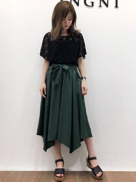 INGNIさんのフレアスカート「サッシュ付ツイルイレヘム/スカート」を使ったコーディネートを紹介します。|ファッション通販楽天ブランドアベニュー(旧スタイライフ Stylife)25293