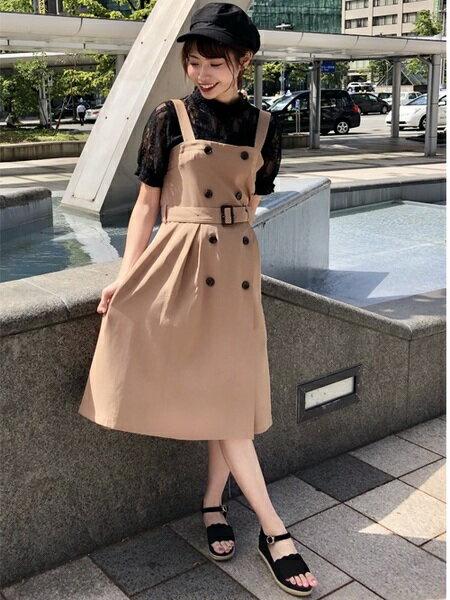 INGNIさんのジャンパースカート「トレンチ風フレア/ジャンスカ」を使ったコーディネートを紹介します。|ファッション通販楽天ブランドアベニュー(旧スタイライフ Stylife)25566