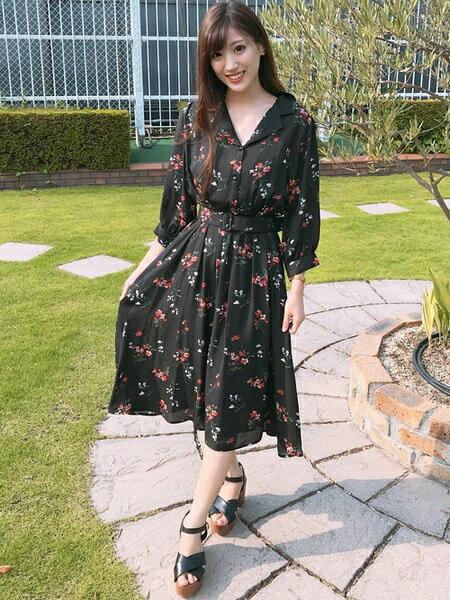 INGNIさんのシャツワンピース「花柄/開襟ワンピース」を使ったコーディネートを紹介します。|ファッション通販楽天ブランドアベニュー(旧スタイライフ Stylife)25580