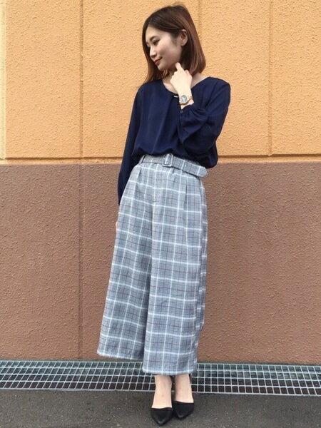 INGNIさんのワイド/バギーパンツ「共ベルト付チェック柄ガウチョ/パンツ」を使ったコーディネートを紹介します。|ファッション通販楽天ブランドアベニュー(旧スタイライフ Stylife)26997