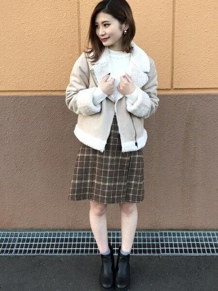 INGNIさんの台形スカート/コクーンスカート「シャギーグレンチェック台形/スカート」を使ったコーディネートを紹介します。 ファッション通販楽天ブランドアベニュー(旧スタイライフ Stylife)27705