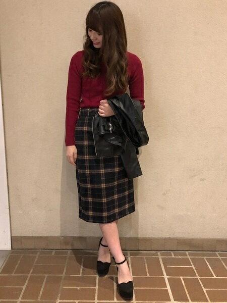 INGNIさんのタイトスカート「シャギーチェック柄ナロー/スカート」を使ったコーディネートを紹介します。|ファッション通販楽天ブランドアベニュー(旧スタイライフ Stylife)27728