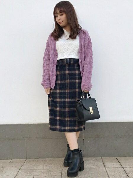 INGNIさんのタイトスカート「シャギーチェック柄ナロー/スカート」を使ったコーディネートを紹介します。|ファッション通販楽天ブランドアベニュー(旧スタイライフ Stylife)27734