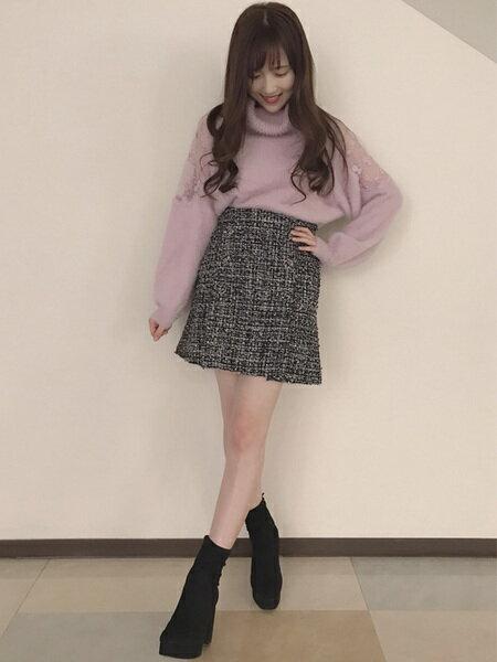 INGNIさんの台形スカート/コクーンスカート「ツイード台形/スカート」を使ったコーディネートを紹介します。 ファッション通販楽天ブランドアベニュー(旧スタイライフ Stylife)28313