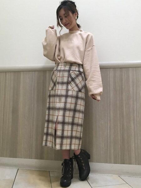 INGNIさんのスカートその他「FRONTジップシャギーチェックナローSK」を使ったコーディネートを紹介します。|ファッション通販楽天ブランドアベニュー(旧スタイライフ Stylife)28358