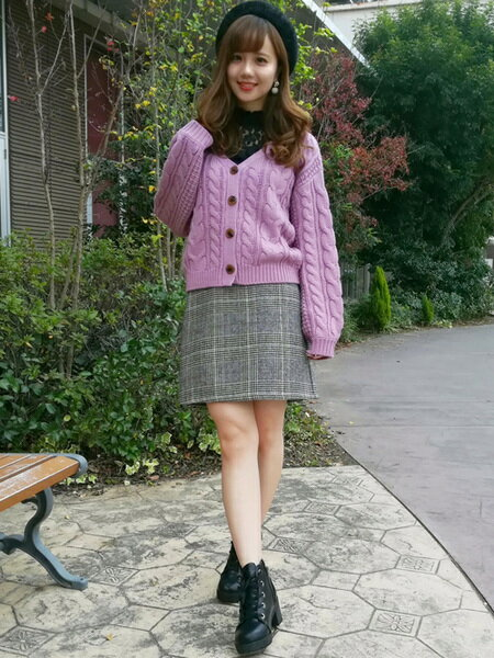 INGNIさんの台形スカート/コクーンスカート「グレンチェック/台形SK」を使ったコーディネートを紹介します。|ファッション通販楽天ブランドアベニュー(旧スタイライフ Stylife)28366