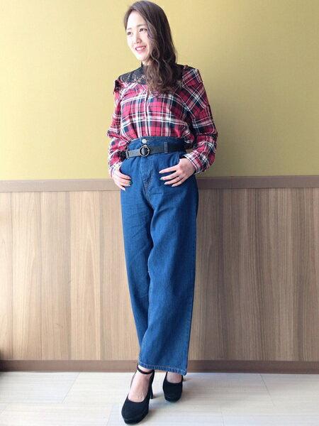 INGNIさんのワイド/バギーパンツ「ベルト付ハイウエストデニムワイドストレート」を使ったコーディネートを紹介します。|ファッション通販楽天ブランドアベニュー(旧スタイライフ Stylife)30566