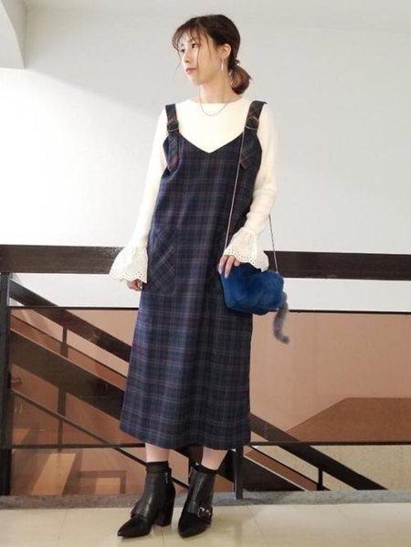ROSE BUDさんのワンピースその他「チェック柄ジャンパースカート」を使ったコーディネートを紹介します。|ファッション通販楽天ブランドアベニュー(旧スタイライフ Stylife)26696