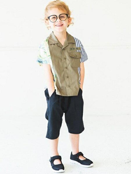 BRANSHESさんのキッズパンツ「タック入りサルエルハーフパンツ」を使ったコーディネートを紹介します。|ファッション通販楽天ブランドアベニュー(旧スタイライフ Stylife)21645
