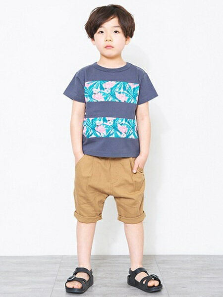 BRANSHESさんのキッズカットソー「フラミンゴ柄切替え半袖Tシャツ」を使ったコーディネートを紹介します。|ファッション通販楽天ブランドアベニュー(旧スタイライフ Stylife)21651