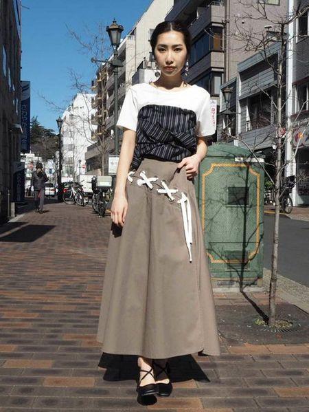MURUAさんのカットソーその他「ビスチェドッキングtee」を使ったコーディネートを紹介します。|ファッション通販楽天ブランドアベニュー(旧スタイライフ Stylife)22992