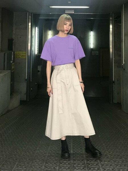 jouetieさんのフレアスカート「カラーステッチミモレスカート」を使ったコーディネートを紹介します。|ファッション通販楽天ブランドアベニュー(旧スタイライフ Stylife)24028