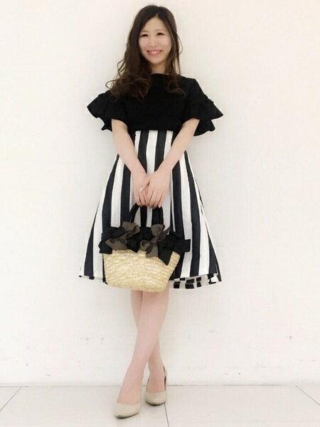 ef-deさんのフレアスカート「【春の新作】リネン混ビックピッチストライプスカート」を使ったコーディネートを紹介します。|ファッション通販楽天ブランドアベニュー(旧スタイライフ Stylife)32587