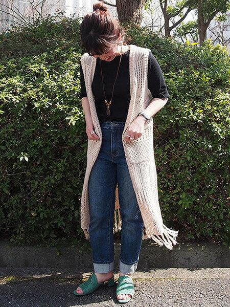 LIPSTARの7G麻タッチカギ編み風ジレを使ったコーディネートを紹介します。|Rakuten Fashion(楽天ファッション/旧楽天ブランドアベニュー)34073