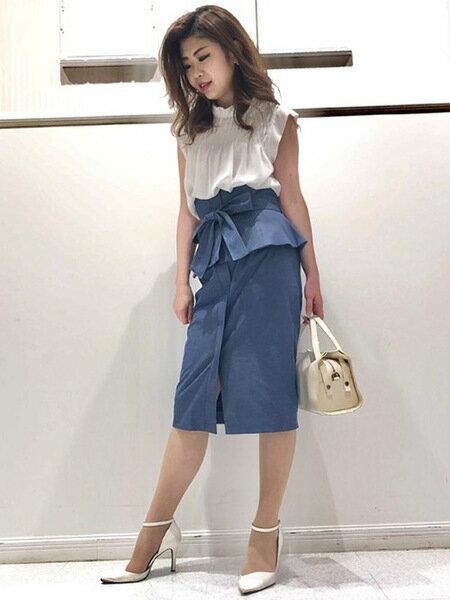QUEENS COURTの【3Way】【洗濯機で洗える】ペプラムタイトスカート&ビスチェワンピースを使ったコーディネートを紹介します。|Rakuten Fashion(楽天ファッション/旧楽天ブランドアベニュー)38395