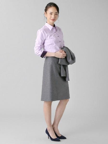 BRICK HOUSE by Tokyo Shirtsの形態安定 ノーアイロン 長袖ワイシャツ レギュラー衿 パープル×織柄を使ったコーディネートを紹介します。|Rakuten Fashion(楽天ファッション/旧楽天ブランドアベニュー)1001534