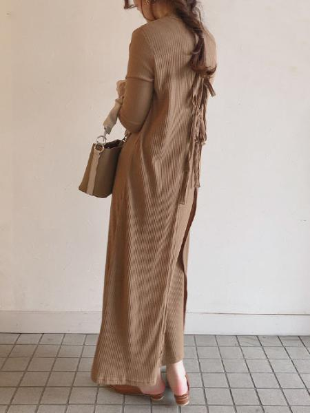 Bou Jeloudの≪2020SS先行予約≫バックリボンテレコロングワンピースを使ったコーディネートを紹介します。|Rakuten Fashion(楽天ファッション/旧楽天ブランドアベニュー)1006622