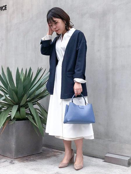 nano・universeのWEB限定/ベルト付ノーカラージャケットを使ったコーディネートを紹介します。|Rakuten Fashion(楽天ファッション/旧楽天ブランドアベニュー)1008065