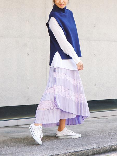 The Virgniaのプリーツレース切替スカートを使ったコーディネートを紹介します。|Rakuten Fashion(楽天ファッション/旧楽天ブランドアベニュー)1008682