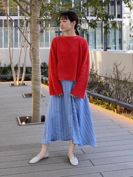 ADAM ET ROPE'のストライプラップフレアスカートを使ったコーディネートを紹介します。 Rakuten Fashion(楽天ファッション/旧楽天ブランドアベニュー)1008983