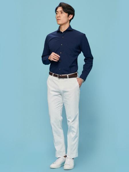 BRICK HOUSE by Tokyo Shirtsのワイシャツ 長袖 形態安定 ホリゾンタル ワイド ネイビー×無地調(シアサッカー) スリムを使ったコーディネートを紹介します。|Rakuten Fashion(楽天ファッション/旧楽天ブランドアベニュー)1017804