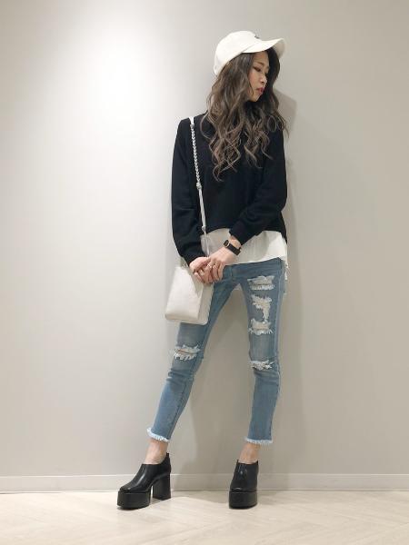 CECIL McBEEのレイヤード風プルーバーを使ったコーディネートを紹介します。|Rakuten Fashion(楽天ファッション/旧楽天ブランドアベニュー)1019607