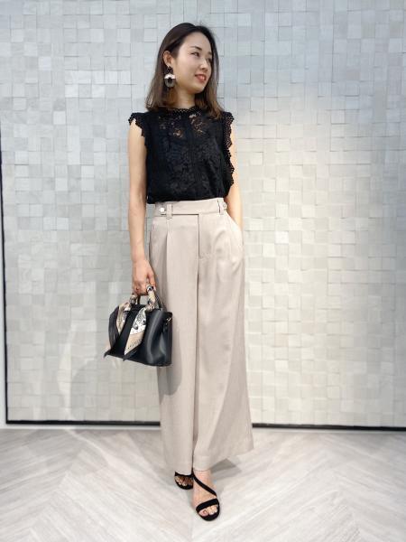 PINKY&DIANNEの[ウォッシャブル]麻調ツイルワイドパンツを使ったコーディネートを紹介します。|Rakuten Fashion(楽天ファッション/旧楽天ブランドアベニュー)1023960